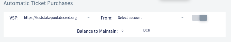 Automatic Purchase panel