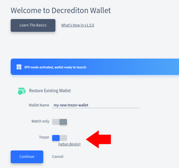 Switch to Trezor-backed wallet